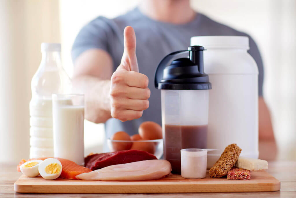 man with protein food